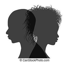 vector, silueta, isolated., norteamericano, perfil, pareja, africano