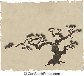 vector, silueta, japonés, paisaje