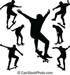 vector, silueta, patinador