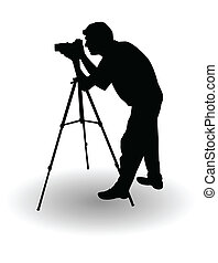 vector, silueta, photographer's