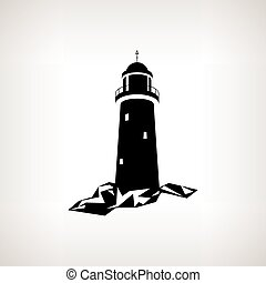 vector, silueta, plano de fondo, faro, luz, ilustración
