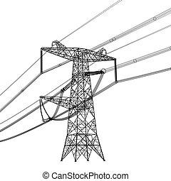 vector, silueta, potencia, ilustración, alto, lines.,...