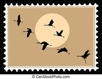 vector, silueta, vuelo, grúas, en, sellos