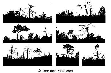 vector, siluetas, árbol, blanco, plano de fondo