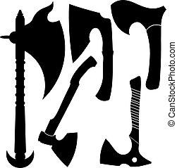 vector, siluetas, battle-axes., conjunto, illustration.