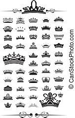vector, siluetas, conjunto, corona, 50