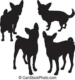 vector, siluetas, de, perros, en, el, estante