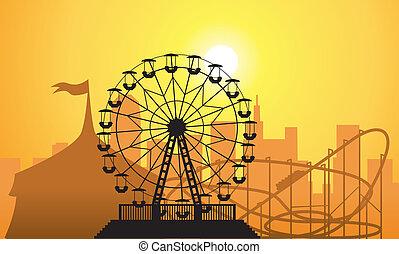 vector, siluetas, de, un, ciudad, y, parque de atracciones