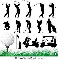 vector, siluetas, golfista
