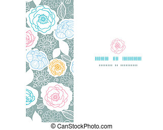 Vector silver and colors florals horizontal seamless pattern background
