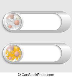 vector silver buttons with flowers