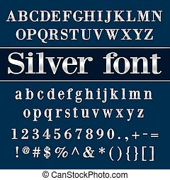 Vector silver coated alphabet letters, digits and punctuation on blue background