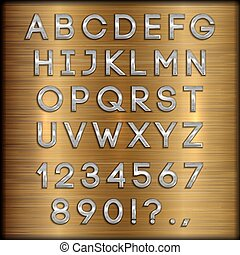Vector silver coated alphabet letters, digits and punctuation on copper brushed background