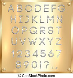 Vector silver coated alphabet letters, digits and punctuation on gold background