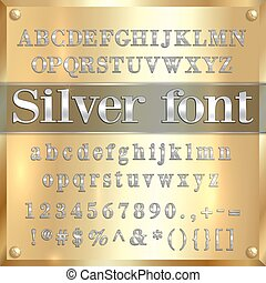 Vector silver coated alphabet letters, digits and...