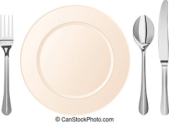 Silverware With Plate Clip Art at Clker.com - vector clip art online,  royalty free & public domain