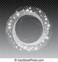 Vector silver glitter circle abstract background, silver sparkles on white background, silver glitter card design. vector illustration vip design template.