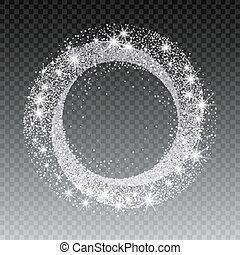 Vector silver glitter circle abstract background, silver...