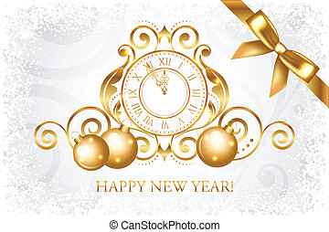 Vector silver & gold Happy New Year card