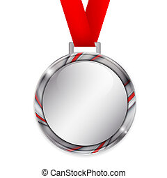 Vector silver medal with red ribbon