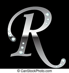 silver metallic letter R