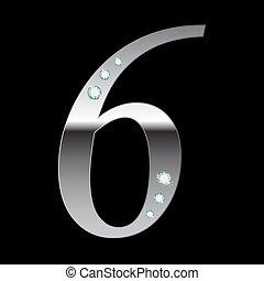 vector silver metallic number six