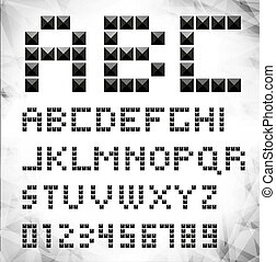 Vector black pixel font with stud / can be used banners, invitation, congratulation or website layout vector/ silver metal stud