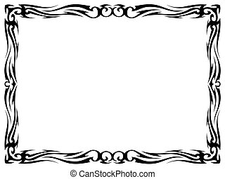 Vector simple black tattoo ornamental decorative frame isolated