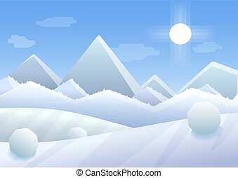 Vector Simple cartoon illustration of Winter Mountains landscape with trees and hills.