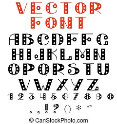 Vector simple font, with a pattern. Retro, vintage style.