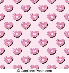 Vector simple geometric heart donut seamless pattern