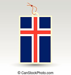 vector simple icelandic price tag - symbol of made in iceland