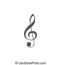Vector simple icon for music theme. Illustration of treble clef on white background with blur shadow. Elements for design. Black, white, grey colors.