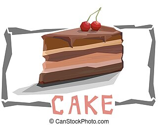 Vector simple illustration of piece of cake.
