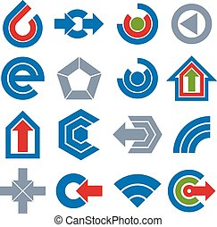 Vector simple navigation pictograms collection. Set of blue corporate abstract design elements. Arrows and circular web icons.