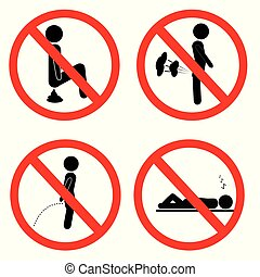 simple prohibition sign, do not poop fart pee and sleep - ...