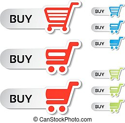 Vector simple shopping cart, menu items, white buttons with ...