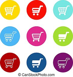 Vector simple shopping cart, trolley with circle color buttons, labels