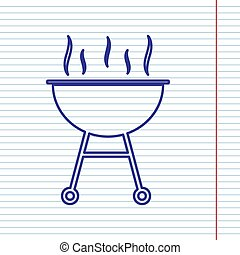 vector., simple, signe., papier cahier, field., fond, marine, barbecue, ligne, rouges, icône