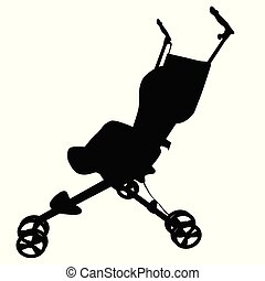 simple silhouette of baby stroller, isolated on white