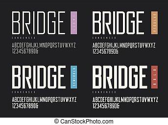 vector, sin, negrita, typefac, regular, semibold, serif., condensed, luz