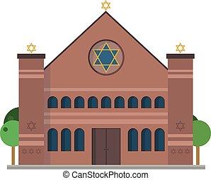 vector, sinagoga, lindo, caricatura, ilustración
