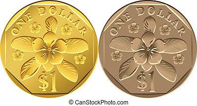 vector Singapore Money, coin one Dollar - vector Singapore...