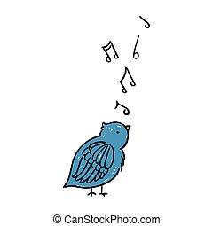 Vector Singing Bird