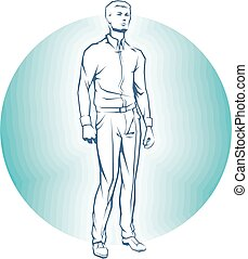 Vector Single Business standing Man.