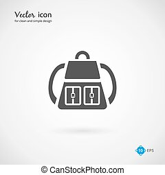 Vector Single Gray Backpack Icon Design