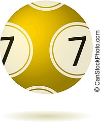Vector Single Lottery Ball, Isolated on White Background Illustration.