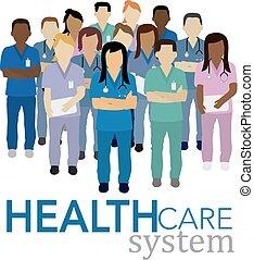 vector, sistema, cuidado, salud, concepto