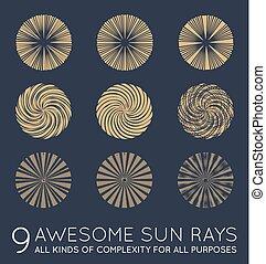 vector, sistema del sol, sunburst, rayos