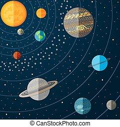 vector, sistema solar, ilustración, planets.